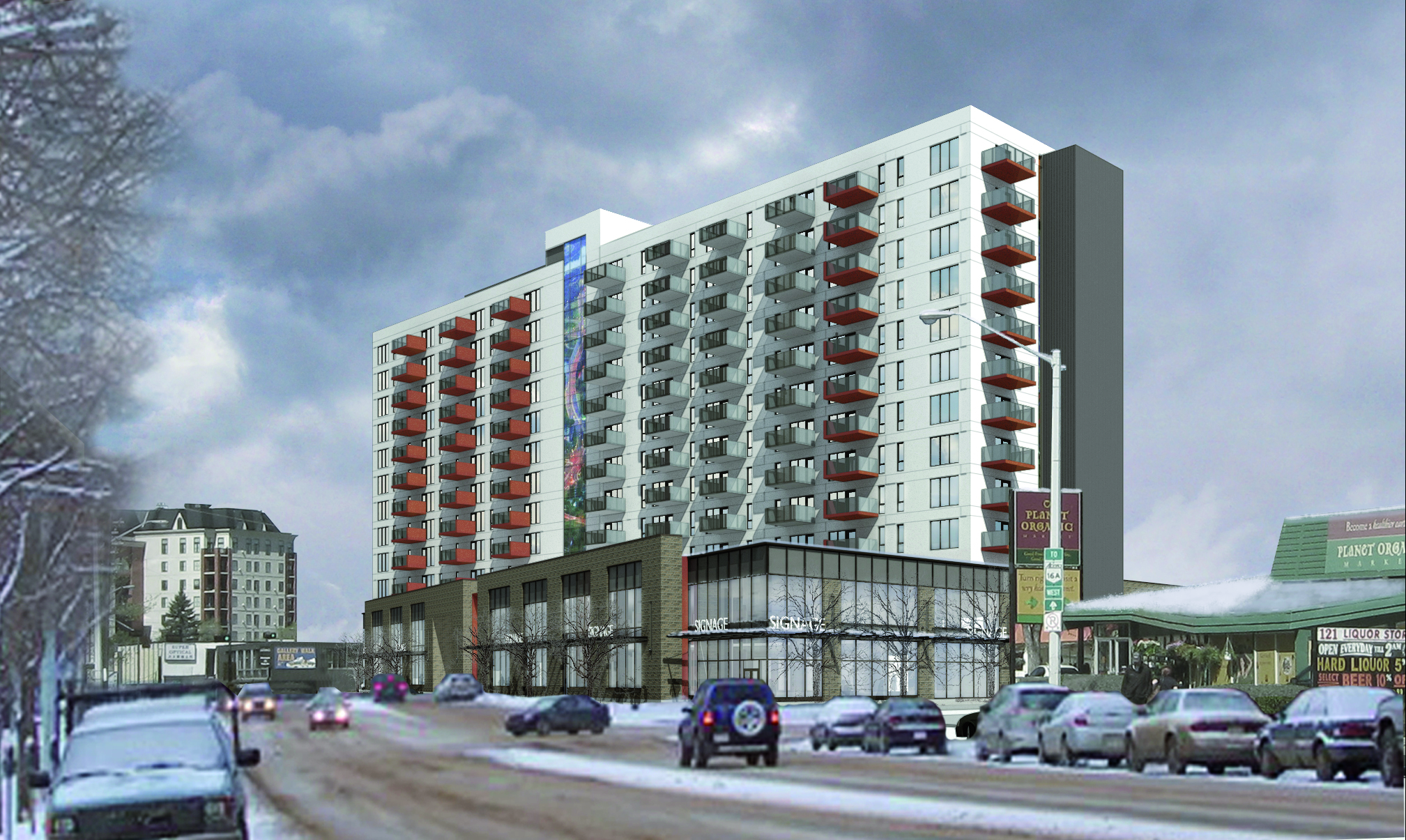 A vision of J22, one of several forthcoming rental apartments, atop Planet Organic's new home. (Image: DIOLG)