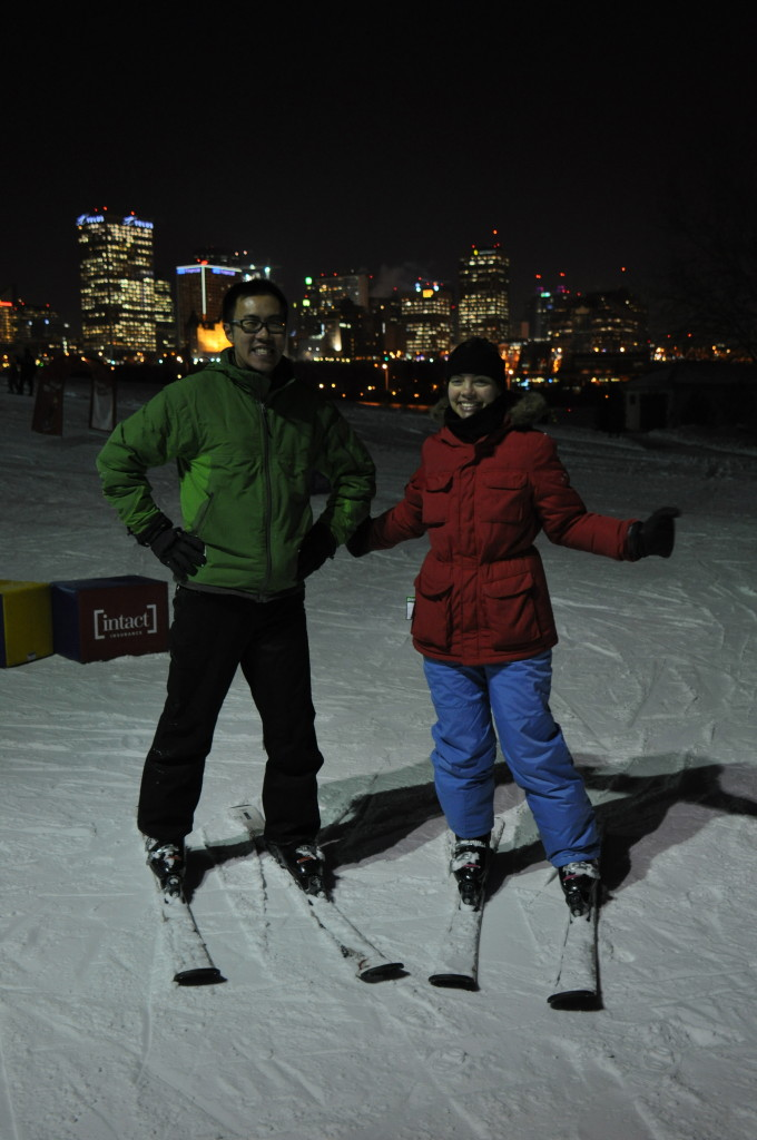 Richard Hung and Valerie Dovell take advan- tage of Edmonton Ski Club's free equipment rentals for OCL members (Jan. 20/16)