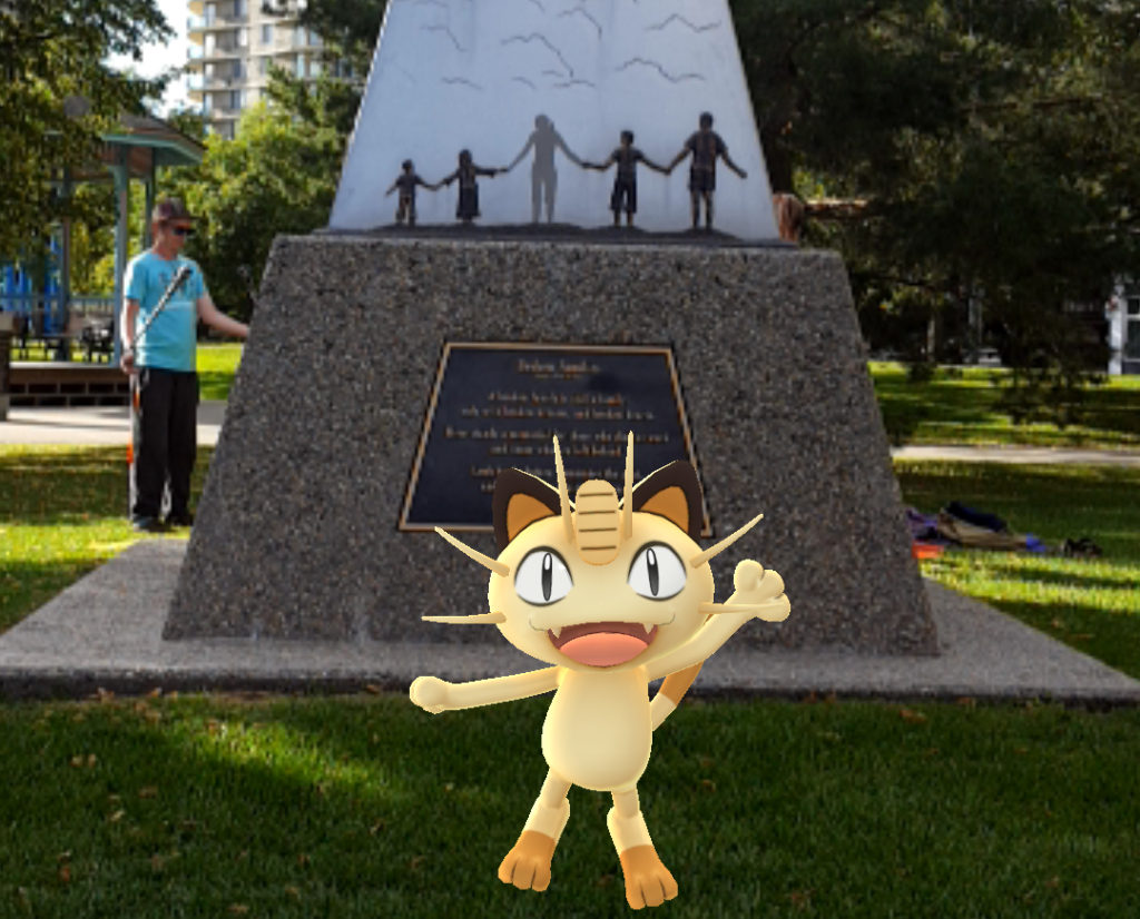 A pesky Meowth in Grant Notley Park, one of Edmonton's most popular Pokémon Go hotspots.